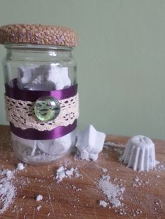 homemade lavendar bath bombs with mason jar