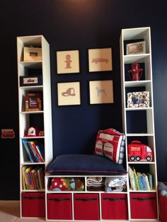 Builtins for toddler room with fireman art.
