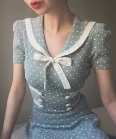 Late mint sailor dress 🕊 Looks like what every repro dress is based on, but it's the real deal 🌟 . 1940s Fashion Women, 1940s Fashion Dresses, 80s Fashion, Trendy Fashion, Boho Fashion, Vintage Fashion, Fashion 2020, Dress Fashion, Style Fashion
