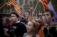 Students protest against public budget cuts in Barcelona. October 11th, 2012.