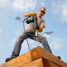 Drive Spikes with a Demo Hammer Garden Tool Storage, Garden Tools, Fence Garden, Demolition Hammer, Woodworking Books, Fine Woodworking, Woodworking Magazine, Woodworking Classes, Woodworking Projects