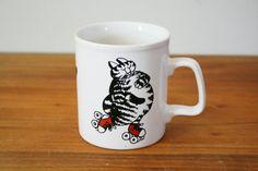 {vintage 80s Kliban Rollerskating Cat mug!} Used to have one of these!