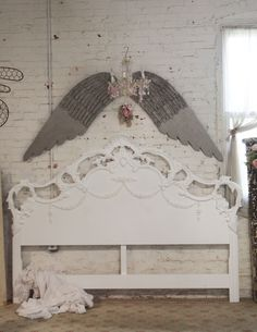 Painted Cottage Chic Shabby White Romantic Headboard KING Headbo [BD16] - $425.00 : The Painted Cottage, Vintage Painted Furniture