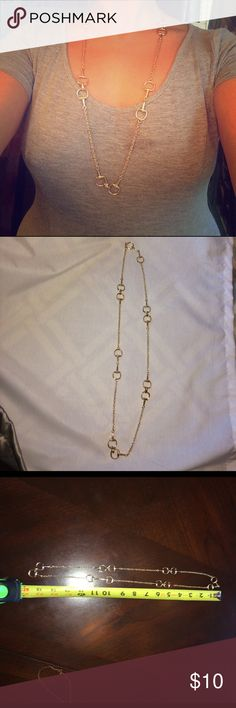 Gold horseshoe style necklace Beautiful long chain with horseshoe Gucci style detail. Looks new! Jewelry Necklaces