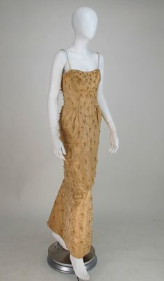 Ceil Chapman beaded gold fishtail gown 1950s