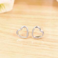 adtl simple plain silver hearts stud earrings 925 sterling silver earrings engagement fine
