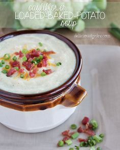 """cauliflower loaded """"baked potato"""" soup recipe so so so good. I used 1c coconut milk instead of almond milk and left our nutritional yeast because i have no idea what that is.... But it turned out amazing!"""