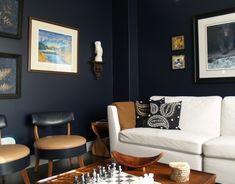 "Formal Living Room in Dark Blue ""Urban Loft"" by Ralph Lauren"