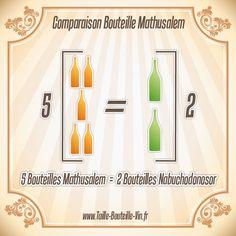 Comparaison entre la bouteille mathusalem et nabuchodonosor