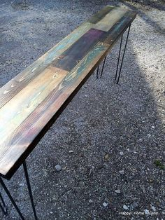 Colorful Custom Reclaimed Salvaged Wood Bench by HappyHomeAustin