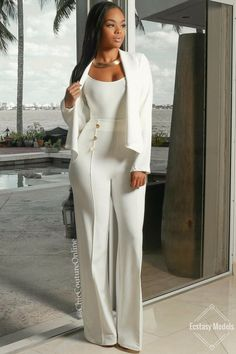 "ecstasymodels: "" All White Glam  Search: JACKET: Pauline , TOP: Kyla , PANTS: Canalie Fashion Look by chiccoutureonline """
