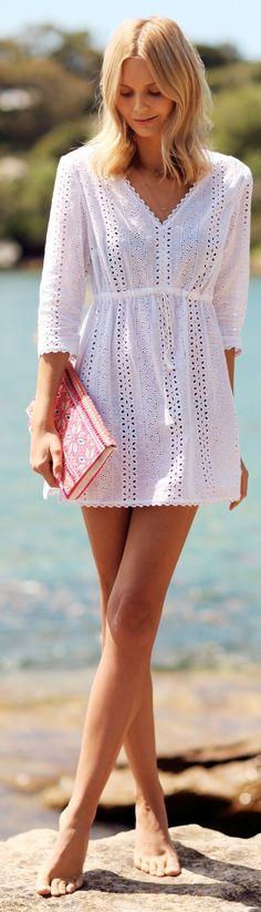 White 'broderie Anglaise' Tunic Dress by Tuula