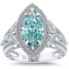 4.10 Carat Fancy Blue Marquise Cut Diamond Engagement Ring 18k Vintage Style - Fancy Color Engagement Rings - Engagement - Lioridiamonds.com