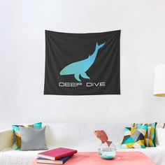 'Deep Dive Blue Whale' Tapestry by Christiaan Van Den Berg Tapestry Design, Wall Tapestry, Thing 1, Blue Whale, Textile Prints, Sell Your Art, All Print, Vivid Colors, Diving