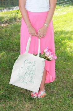 You can never go wrong by placing in a adorned tote. Wedding Planning, Roses, Calligraphy, Inspired, Style, Swag, Lettering, Pink, Rose
