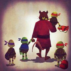 Master Splinter with baby Mikey, Leo, Don, and Raph.♥