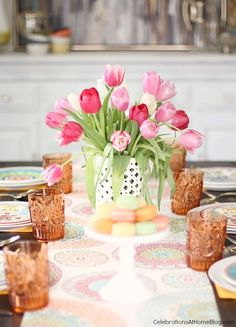 Set a Spring table with Color - see this same basic table setting styled in 2 different ways #bhglivebetter