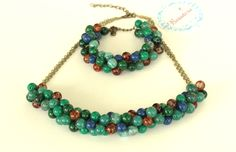 Green Agate/Jade and cracked brown glass beads Necklace and bracelet