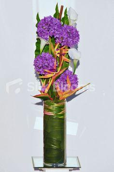 Artificial Orange Bird of Paradise and Purple Silk Allium Vase Arrangement w/ Calla Lilies and Foliage
