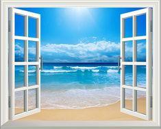Sunshine Beach 3D Window View Removable Wall Art Sticker Vinyl Decal Mural Decor