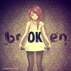 Broken quotes anime girl sad loss