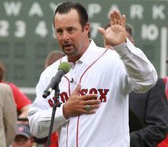 tim wakefield gets emotional during his return to fenway park after his retirement.