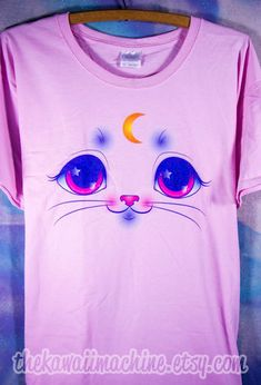 Kawaii Fairy Kei Pastel Magical Kitty Cat Face Womens T Shirt Size S-2XL