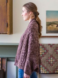Japonica is a generously sized modular shrug worked with an allover slip-stitch cable pattern. Pattern is charted.