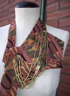 Constance- Upcycled Handstitched Necktie Collar with Brass Tube Chain-Hortense