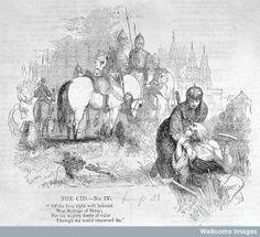 El Cid asistiendo a un leproso, grabado de 1841