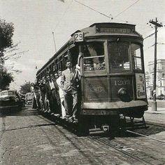 São Paulo. Bonde 29 Pinheiros Passando na av. Dr. Arnaldo. Anos 50