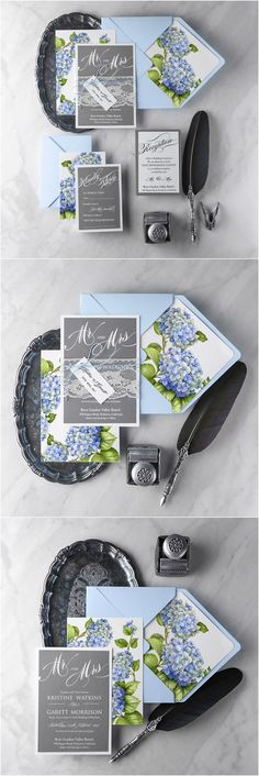 Blue and grey hydrangeas wedding invitations with lace @4LOVEPolkaDots