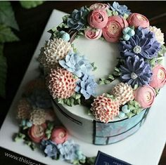 Pink and blue Butter Cream Cake
