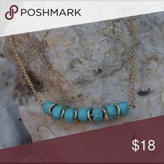 necklace turquoise beaded / gold short necklace Jewelry Necklaces