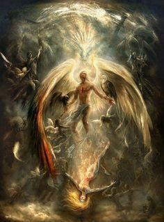 A dark angel rising mountain people fantasy HD Wallpaper species Dark Fantasy Art, Fantasy Art Angels, Dark Art, Archangel Uriel, Archangel Michael, Archangel Jophiel, Male Angels, Angels And Demons, Angel Wallpaper