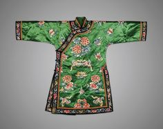"""Chinese embroidered silk tunic ; with design of flowers rendered in """"satin"""" and """"forbidden"""" stitch, with finger citron and moths on bright green ground"""
