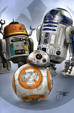 R2D2 WITH BB-8 AND CHOPPER Aniversario Star Wars, Star Wars Droids, Bb8, Star Wars Pictures, Geek Art, Disney Star Wars, Star Wars Art, Clone Wars, Chopper