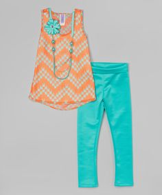 Another great find on #zulily! Coral & Mint Tunic Set - Girls by Maya Fashion #zulilyfinds