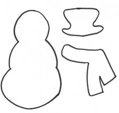 Snowman, hat, and scarf template
