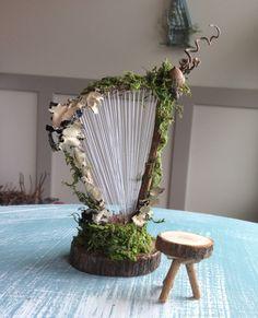 Fairy& Work by Olive Miniaturen Fairy Instruments Fairy Harp handmade . - Fairy& Work by Olive Miniaturen Fairy Instruments Fairy Harp handmade …, # - Fairy Crafts, Garden Crafts, Garden Art, Garden Ideas, Garden Design, Garden Club, Fairy Garden Furniture, Fairy Garden Houses, Fairy Gardening