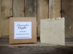 This is my gorgeous handmade Oatmeal & Honey soap. It is made in small batches using the cold process method of soap making. They are individually cut and then cured for 6 weeks to create the finished bar of soap.  #HandmadeInMyKitchen #ForTheLoveOfLavender #LavenderCraftsKilcoole #LavenderCrafts #HandmadeInKilcoole #AllNaturalIngredients #EcoFriendly #PalmOilFree