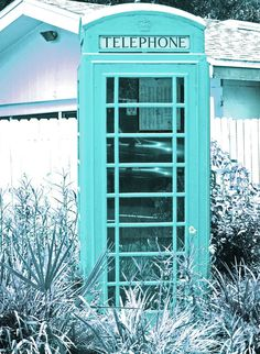 Retro Aqua Photo Signed & Matted, Cottage Photography, Old Telephone Booth, Cottage Chic, Etsy. Shades Of Turquoise, Aqua Blue, Shades Of Blue, Color Azul, Turquoise Color, Azul Pantone, Pantone Blue, Neon Azul, My Favorite Color