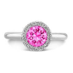 Dafina Tall Brilliant (Center Pink Sapphire with top and side Diamonds) on dafinajewelry.com #engagementrings #rings