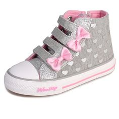 dded5b8c4f33 Girls  Velcro Double-Bow High-Top Sneaker. Toddler shoes size from 9