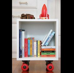 A wooden box with roller skate wheels or turn it on its side and add the wheels for a movable toy box.