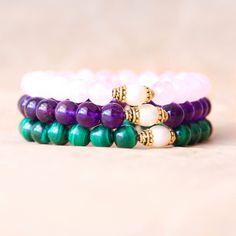 Wrist Mala Beads, Yoga Bracelet Stack, Spiritual Jewelry, Mantra Bracelet Set, Rose Quartz, Amethyst, Malachite, Freshwater Pearl