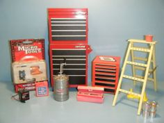 Ken Doll Size Sears Craftsman Tool Box w Chest Ladder Keg Battery Paint Tools