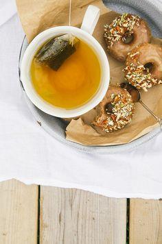 vegan + GF maple doughnuts w/ salted almond butter glaze // the first mess