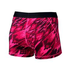 Nike Women's Pro Cool 3 Inch Training Shorts ($32) ❤ liked on Polyvore featuring activewear, activewear shorts, pink, nike activewear, training jersey, nike sportswear, nike jerseys and pink jersey