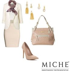 Here is the newest Luxe design from Miche, the Versailles! She is quite the beauty with white and rose faux leather. With beautiful quilting detail, this is the perfect shell to dress up your professional ensemble. Pairs nicely with the gold drop earring base and the pearl drop accent. The Maria scarf can give your outfit the finishing touch for the ultimate in chic.
